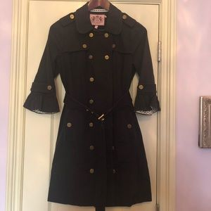 Juicy Couture Black Belted Trench Coat